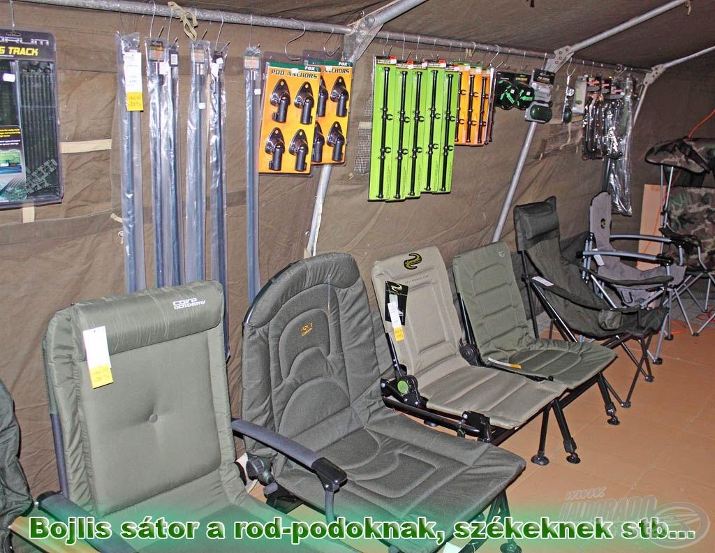 A bojlis horgászathoz tartozó darabosabb kellékek, kiegészítők egy külön sátorban kapnak helyet