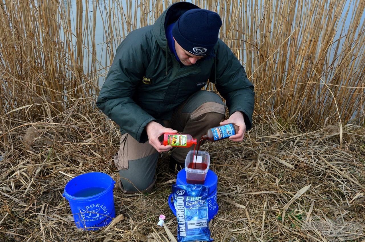 A folyékony összetevőket vízzel elegyítsük, mielőtt a szárazanyaghoz adjuk