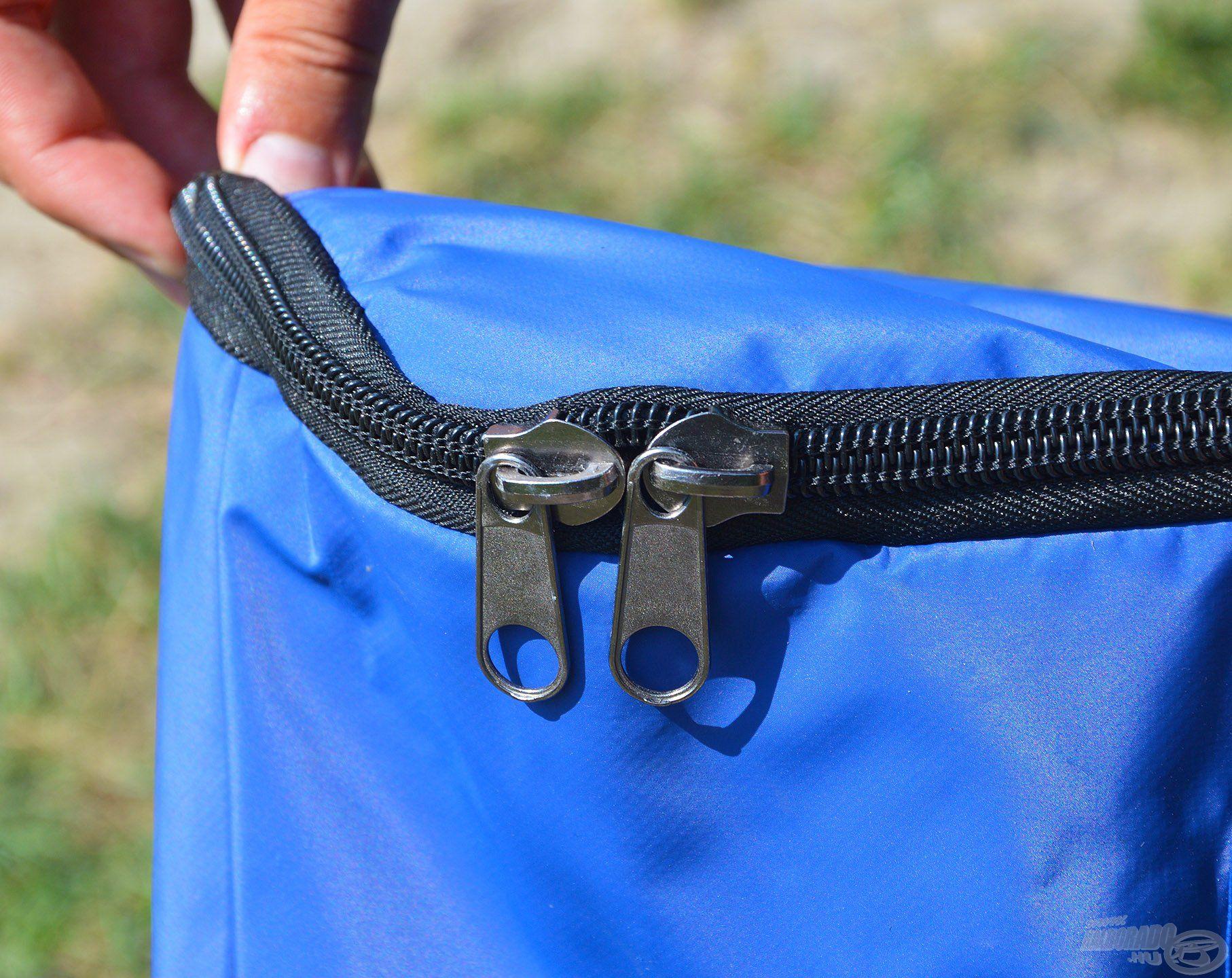 Erős, robosztus, de könnyen futó cipzárak kerültek a táskákra, amik elzárják a nedvességet és a kellemetlen szagokat