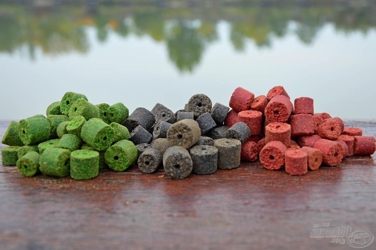 Háromféle színű és ízű halibut pellet van a kínálatban