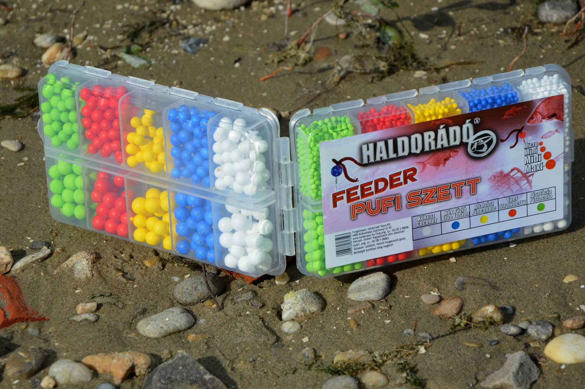 A Feeder Pufi szettben 5 különböző ízű hungarocell golyócska van, 4 méretben