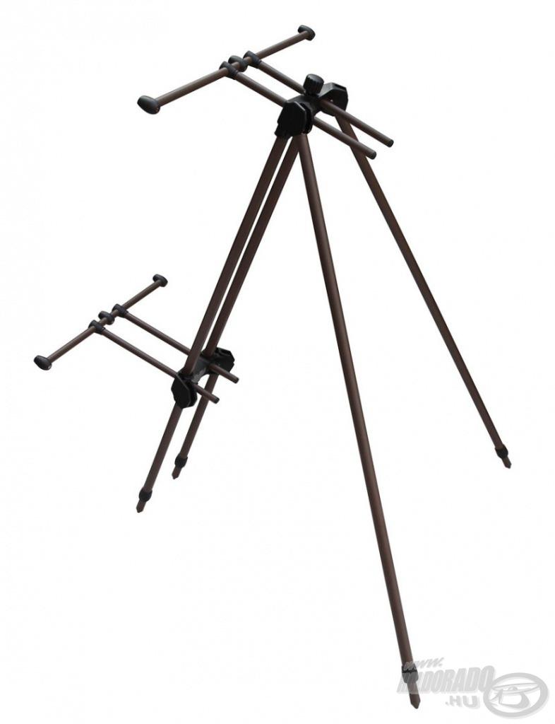 A Tri-Sky Pod biztonságosan tatja botjainkat, még közel függőleges helyzetben is