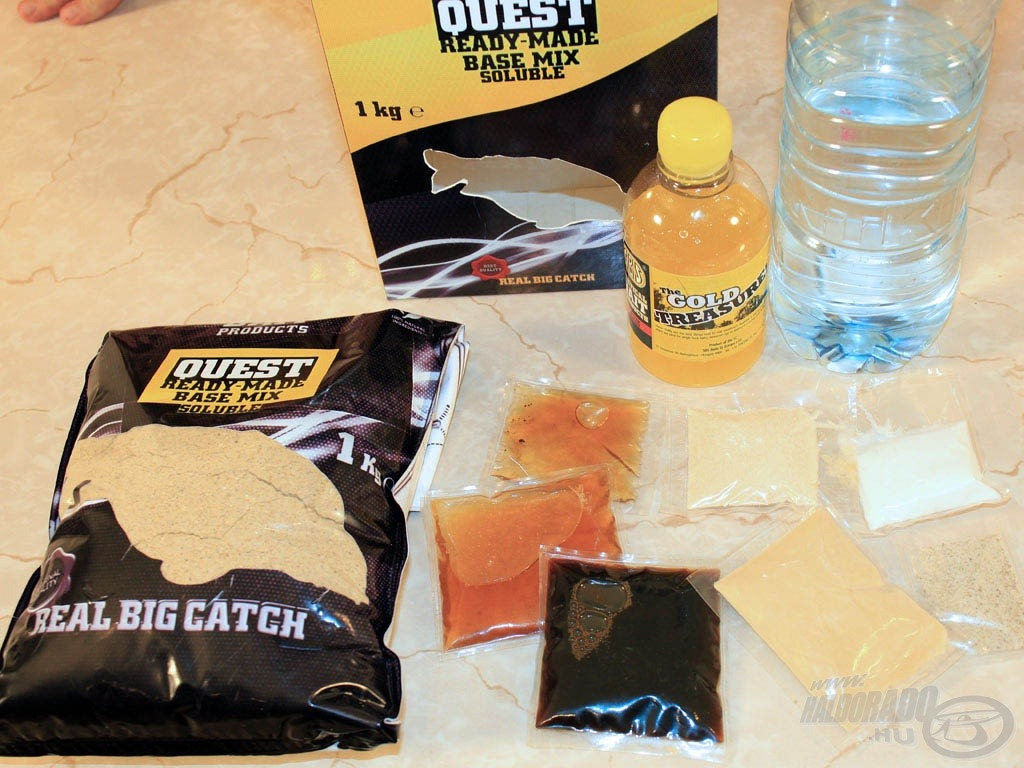 A Soluble Bio Big Fish Quest Ready-Made Base mix tartalma:<br>1. The Gold Treasure 225 ml<br>2. Bio Big Fish Liquid Attract 8 ml<br>3. Natur Attract 25 ml + Attractamino 25 ml keveréke<br>4. K. M. Nugget Oil 30 ml<br>5. Betain HCl 5 g<br>6. The Edge extract 10 g<br>7. Flavone Fish 2 g<br>8. só 10 g
