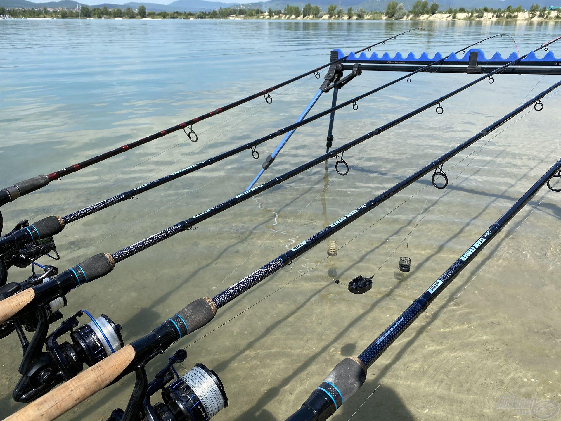 Kettő hosszú előkés és kettő method feeder végszerelék várta a halakat. Ezeket folyamatosan váltogattam, de itt methoddal egyetlen halat sem fogtam