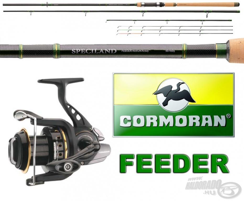 A feederes pecások a Cormoran Speciland Feeder 3,60 m hosszú, 50-150 g dobósúlyú változatára, hozzá BLACK MASTER Feeder 6PiF 5000 orsóra pályázhatnak