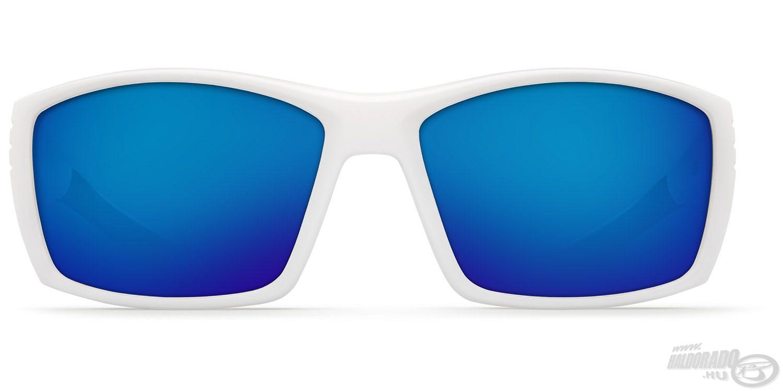 A fehér keretben szürke színű lencse található, kék tükröződő bevonattal