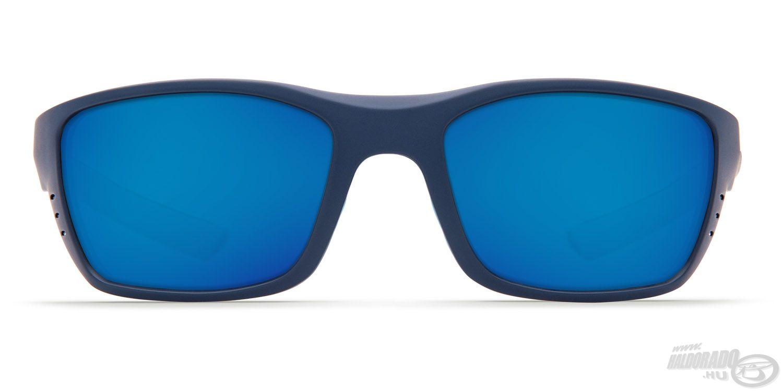Sötétkék keretet, világoskék díszítő elemeket és szürke színű, kék tükröződő bevonatos lencséket kapott a szemüveg
