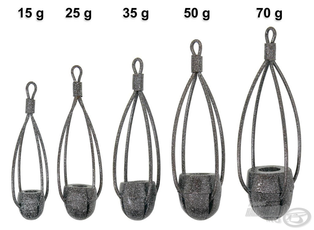 A kisebb (15, 25, 35 g) méretek az álló-, míg a nagyobbak (50, 70 g) a folyóvízi horgászathoz készültek