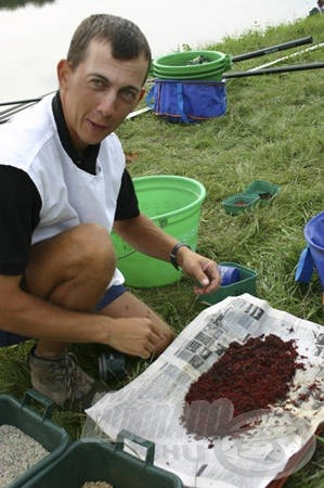 Békési Attila a szúnyoglárvát készíti elő