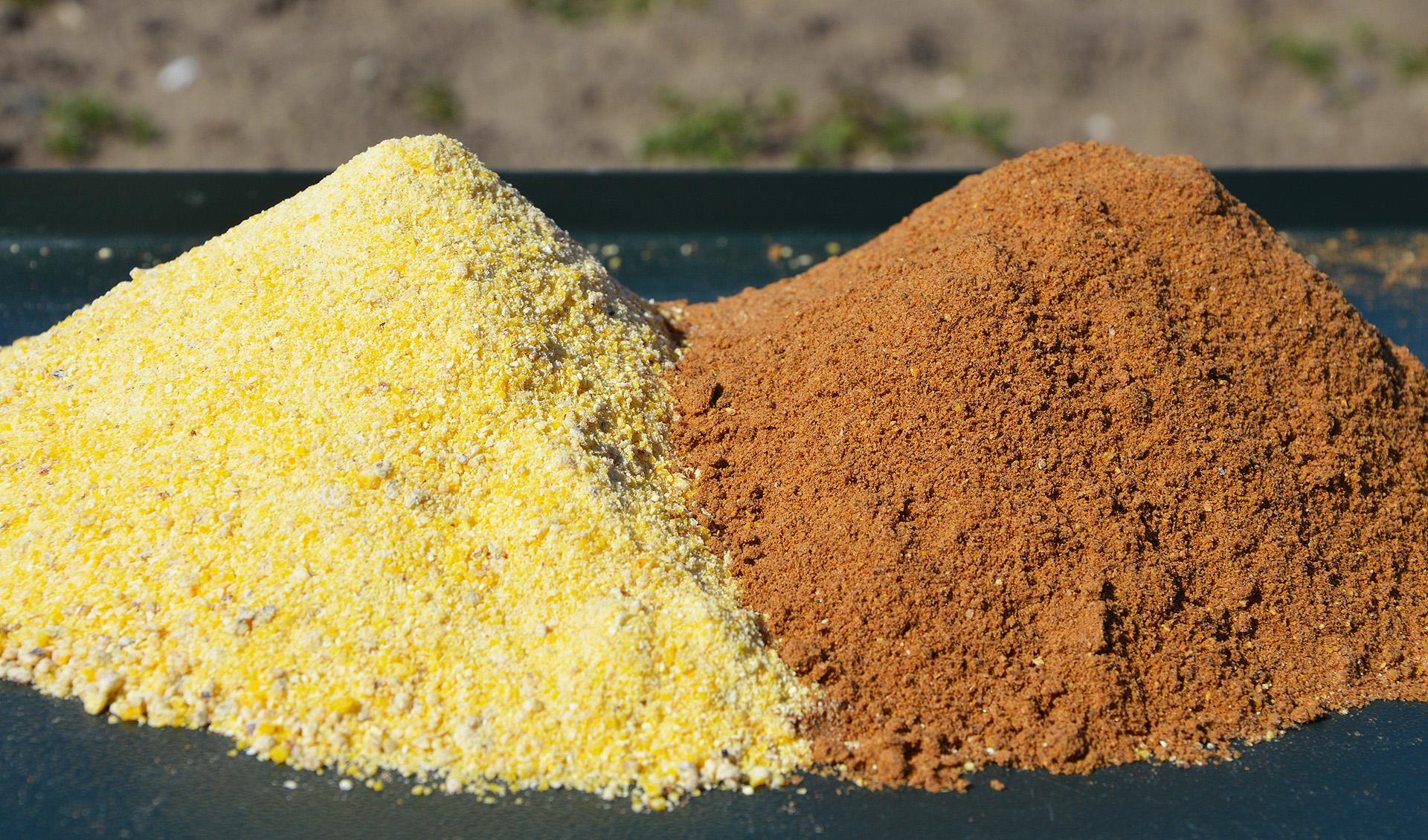 Alapjaiban két fő komponensből áll a recept. Az egyik a Top Method Feeder Total Fish etetőanyag, a másik pedig a Gold Feeder család 2020-as újdonsága, a Champion Corn