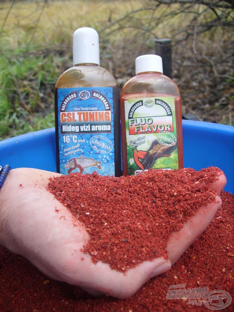 A kész etetőanyag hatásfokát némi Fagyos Ponty CSL Tuning hideg vízi aroma, valamint kevés Chilis Tintahalas Fluo Flavor hozzáadásával növeltem