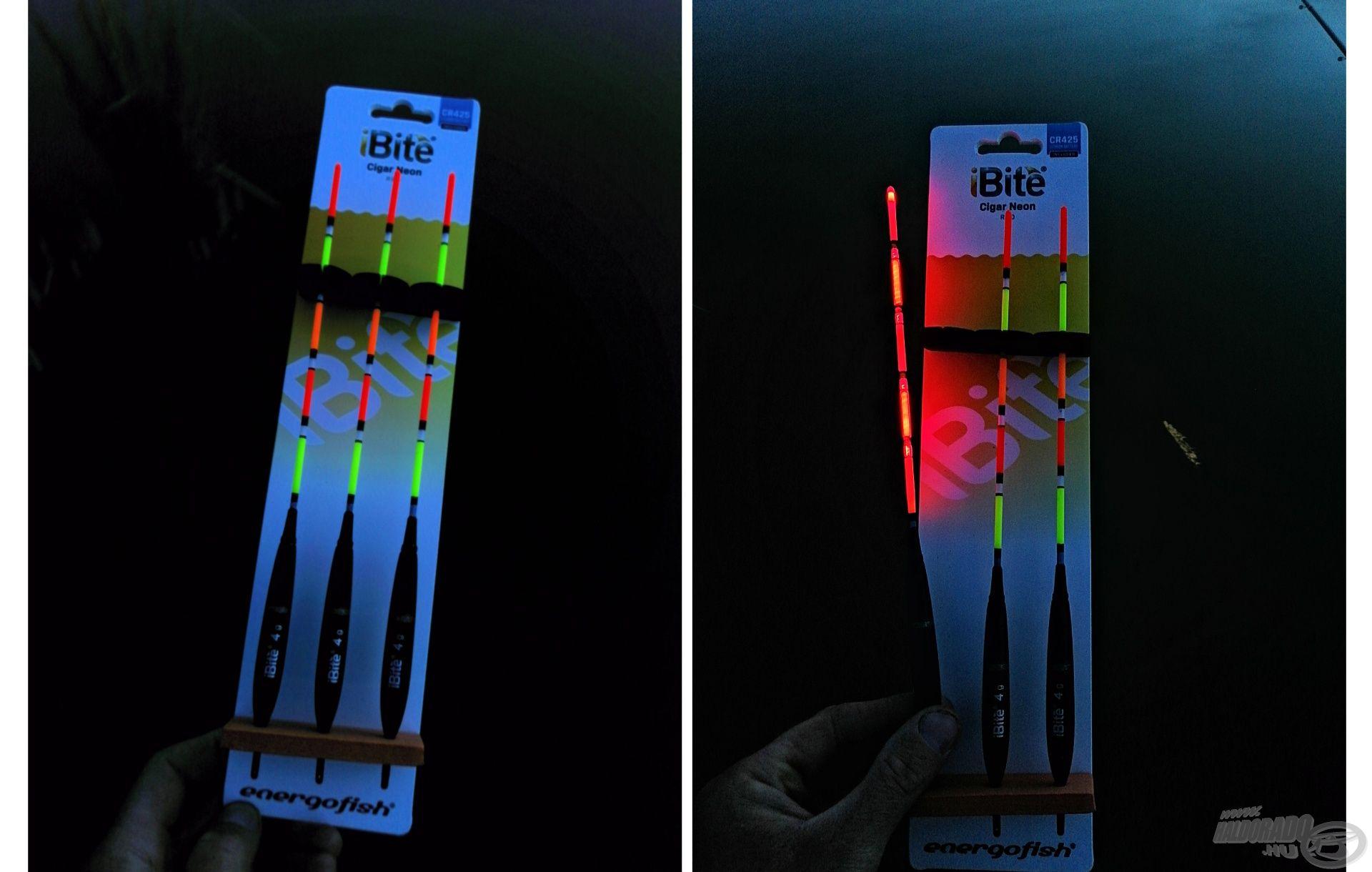 A család legszínesebb modellje a balsafa testű, világító műanyag multicolor antennával ellátott pontyos úszója, az iBite Cigar Neon Red és Green