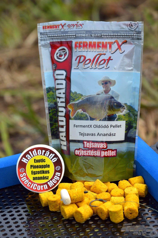 A FermentX Oldódó Pellet Tejsavas Ananász és az Egzotikus Ananász Mega SpéciCorn remek meleg vízi csali-kombináció, ami jól működik édes, illetve halas ízű etetőanyagokkal is