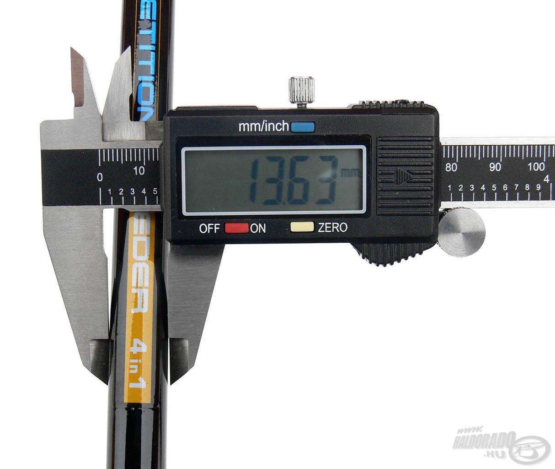 A nyéltag legvastagabb pontja is csak 13,63 mm
