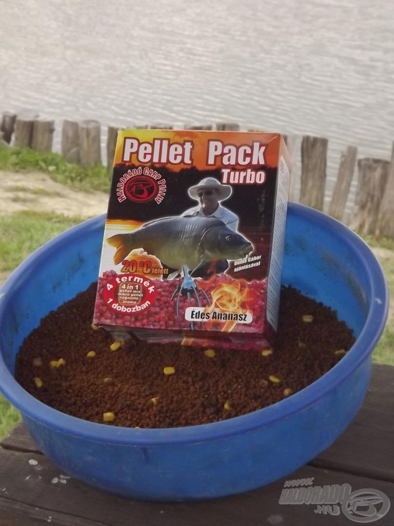 Etetőanyagom alapját 1 kg Pellet Pack Turbo alkotta Édes Ananász ízesítésben…