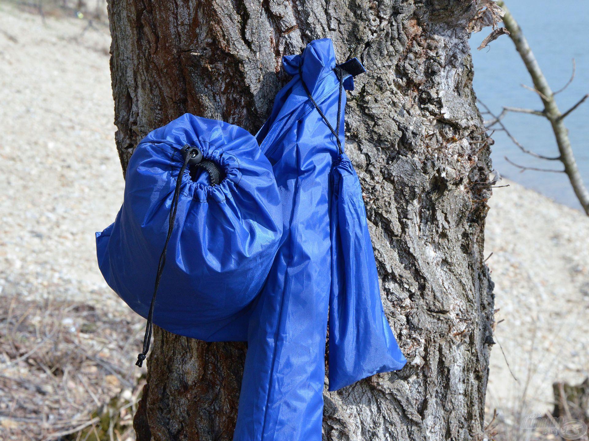 A Haldorádó Kék Sátras Horgászernyő összetett termék, amely ernyőből, leszúróból, palástból, sátorcövekekből és rögzítő kötélből áll. Ezek mindegyike kék táskákban kapott helyet