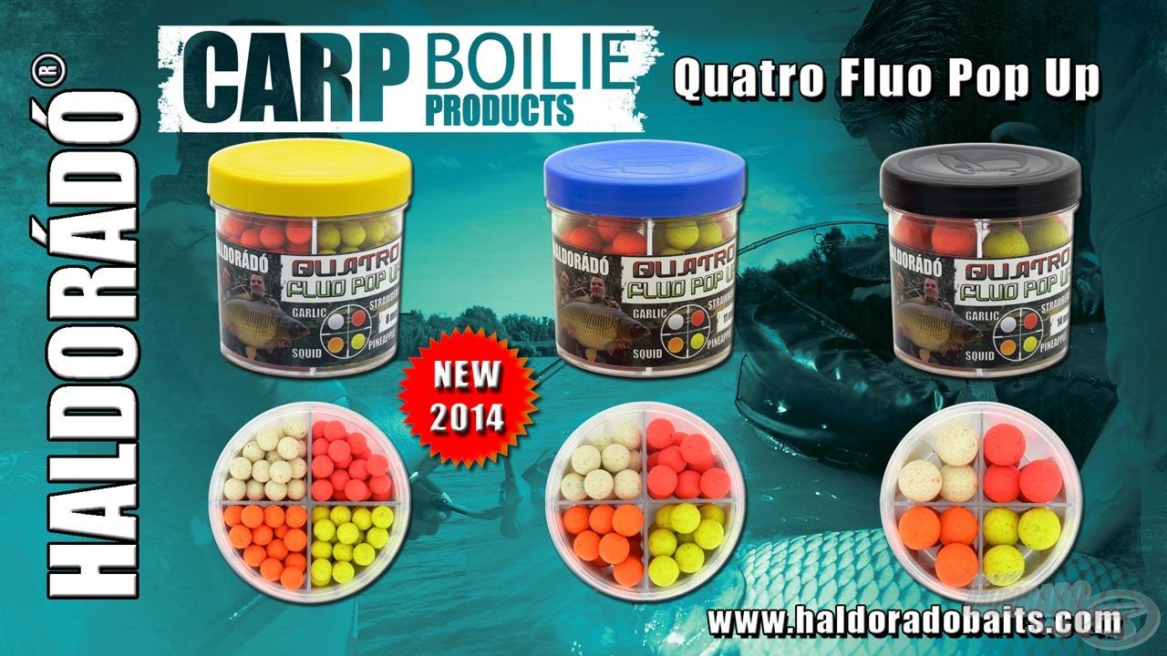3 méretben, dobozonként 4 féle ízesítéssel kapható a Quatro Fluo Pop Up bojli