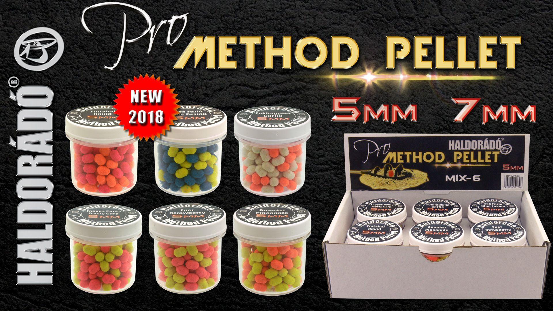 2018-ban egy újabb, kifejezetten a finom method feeder horgászathoz kifejlesztett csali újdonsággal is piacra lépünk! Ez nem más, mint a Pro Method Pellet család 5 és 7 mm-es kivitelben