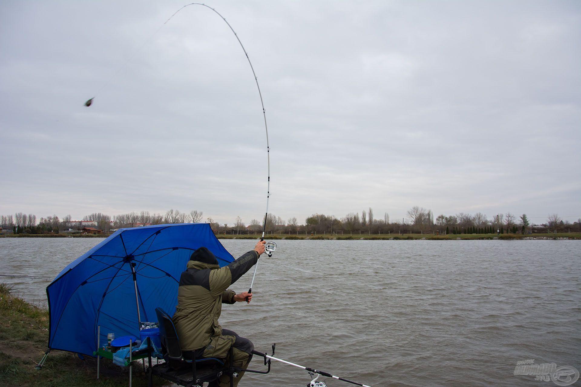 A viharos É-i szélben és a +2 Celsius-fokos hőmérsékletben nem volt könnyű a horgászat