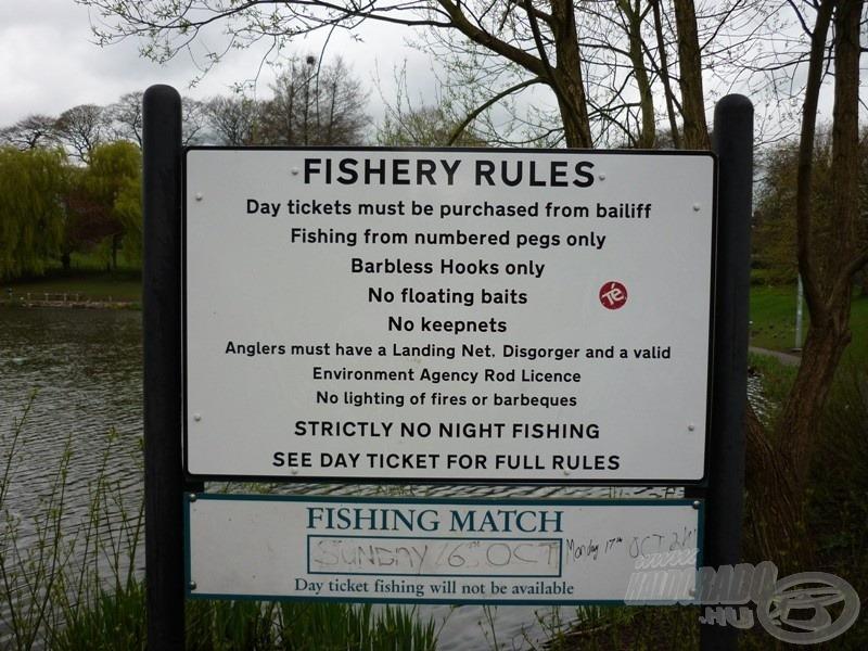 A táblán olvashatóak az itteni szabályok