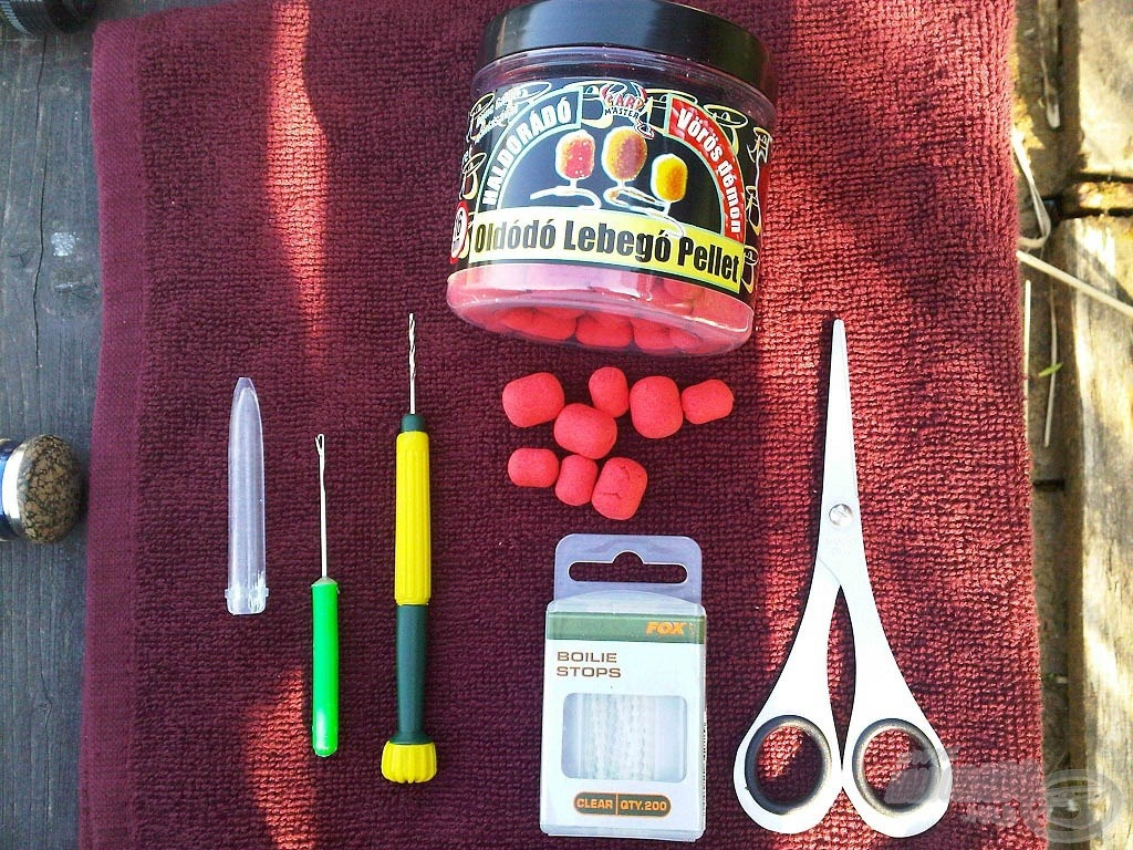 A pelletes csalizáskor használt kellékek