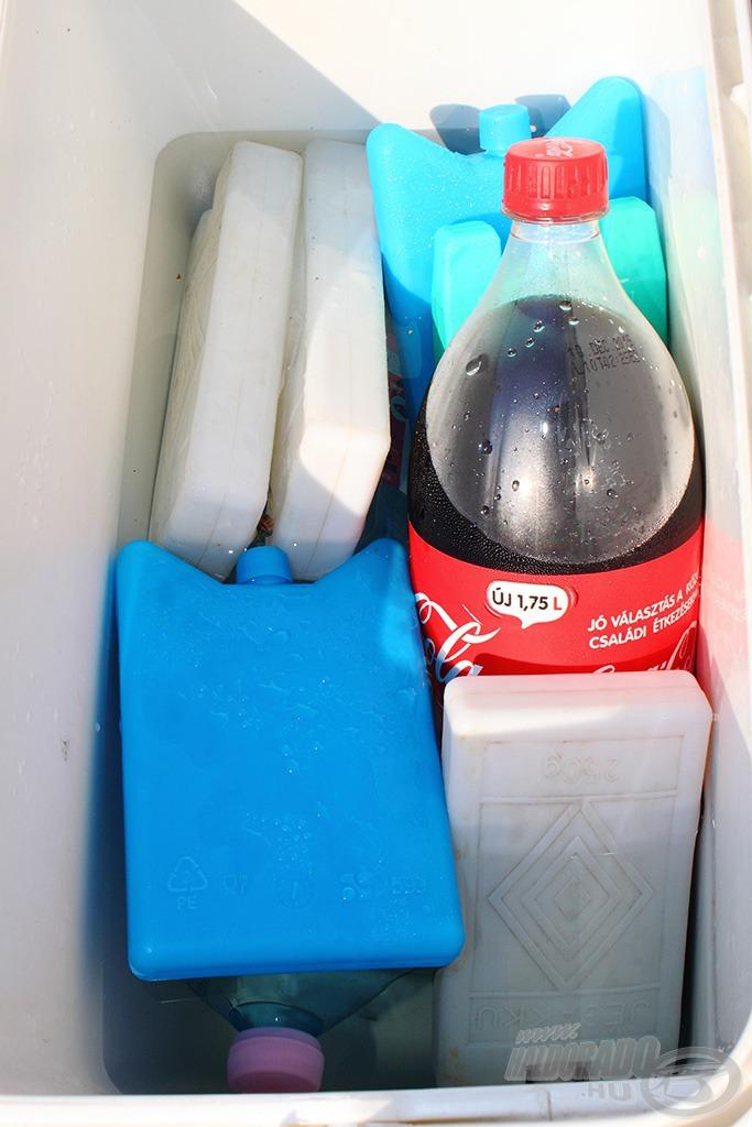 Telerakva jégakuval és jéggé fagyasztott ásványvízzel, de én még hideg vízzel is fel szoktam tölteni félig a táskát, mert szerintem így hatékonyabb a hűtés és kevésbé érzékeny a nyitogatásra… na és a jéghideg kóla az igazi! :)