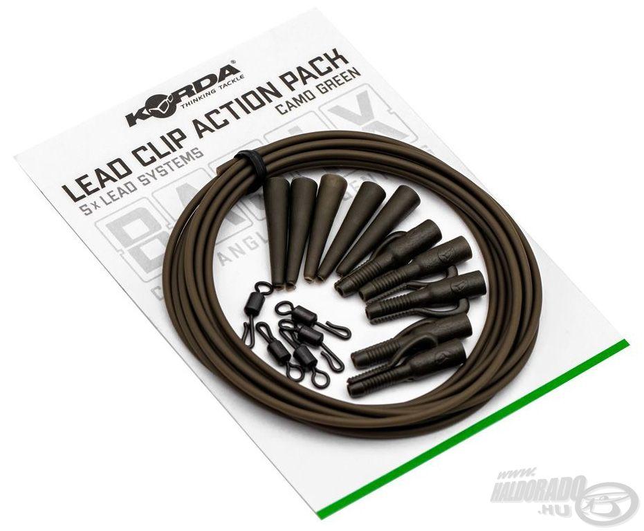A Korda Basix Lead Clip Action Pack egy komplett ólomklipsz rendszer gubancgátló csővel kombinálva