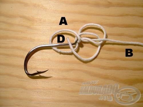 Az (A) véget fűzzük át a (D)-n.