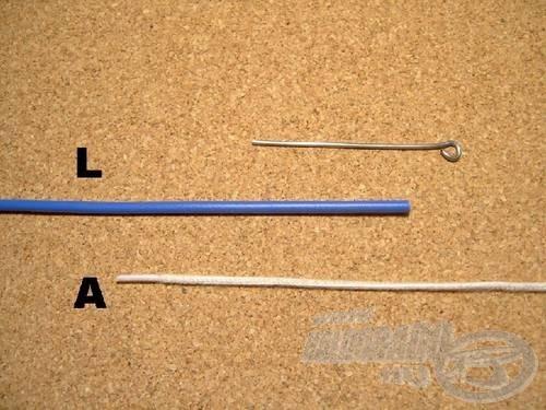 A szükséges kellékek: a legyezőzsinór (L), az előke (A) és egy tű