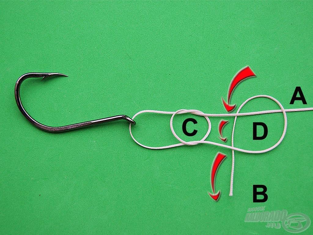 """Bújtassuk át a """"B"""" szálvéget az """"A"""" szálrész és önmaga alatt. Ezzel megkaptuk a """"D"""" jelű hurkot"""