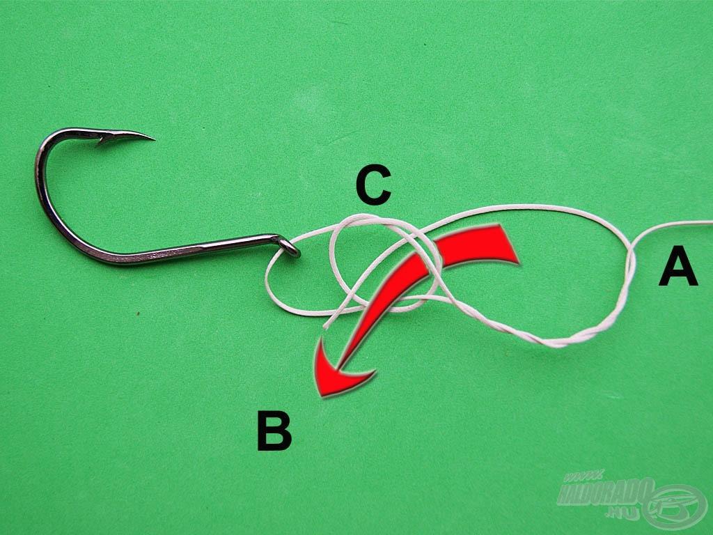 """Bujtassuk a """"B"""" szálat alulról a """"C"""" csomóba, majd húzzuk össze a kötést"""