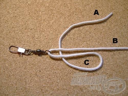 Vegyük át az (A) szálat önmaga és a (B) szálak alatt