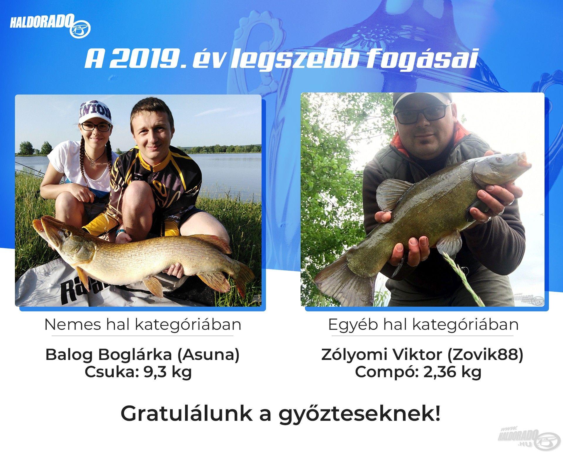 """""""Nemes hal"""" kategóriában Balog Boglárka, azaz """"Asuna"""" lett az első, gyönyörű csukájával, míg az """"Egyéb hal"""" kategória győztese Zólyomi Viktor, alias """"Zovik88"""" és gyönyörű compója lett"""