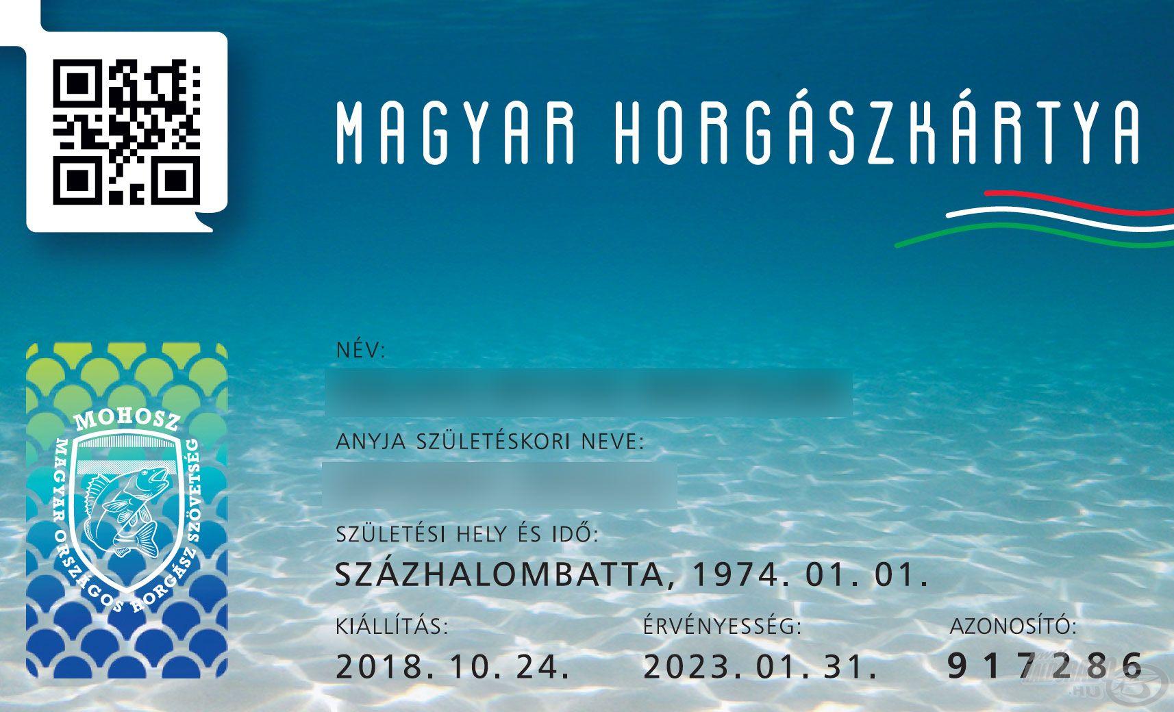 Ez az azonosító és kulcskártya funkciójú, személyi igazolvány méretű plasztikkártya a horgászok általános személyi és szervezeti azonosításában ad segítséget, s egyben megteremti a naprakész egyesületi tagnyilvántartást is