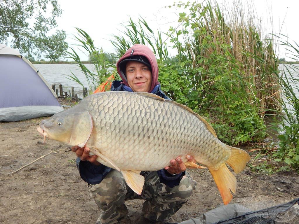 Kezemben egy újabb hatalmas ponty. 12,87 kg-ot nyomott ez a szép töves. Az ohati halakat jellemzi a hatalmas erő és a végletekig küzdeni akarás. Fárasszuk türelmesen őket!