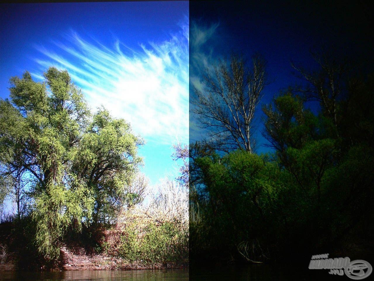 Az LCD kijelzőkön (legyen az tévé, monitor vagy telefon kijelzője) jól ellenőrizhető, hogy található-e a szemüvegen polarizációs réteg. A jobb oldalon a napszemüvegen keresztüli normál állású kép látható, míg a balon az anélküli kép (azonos paraméterek mellett elkészítve a képet)