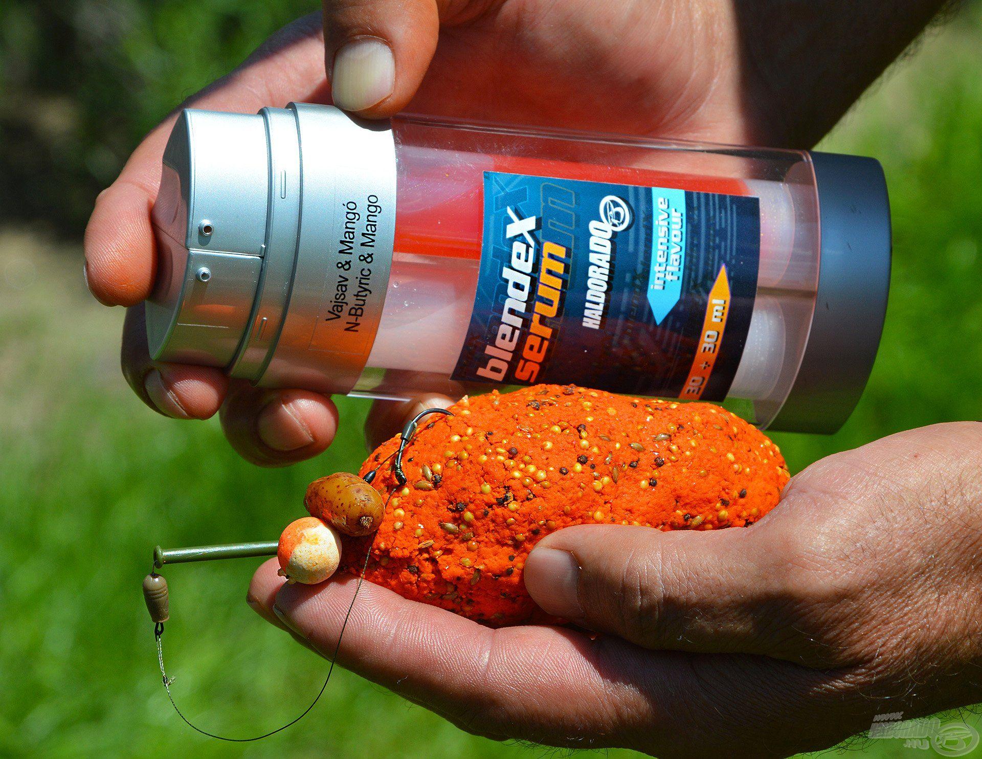 A csalogatóhatás fokozása érdekében pár cseppet nyomtam rá a Vajsav + Mangó BlendeX Serum aromából