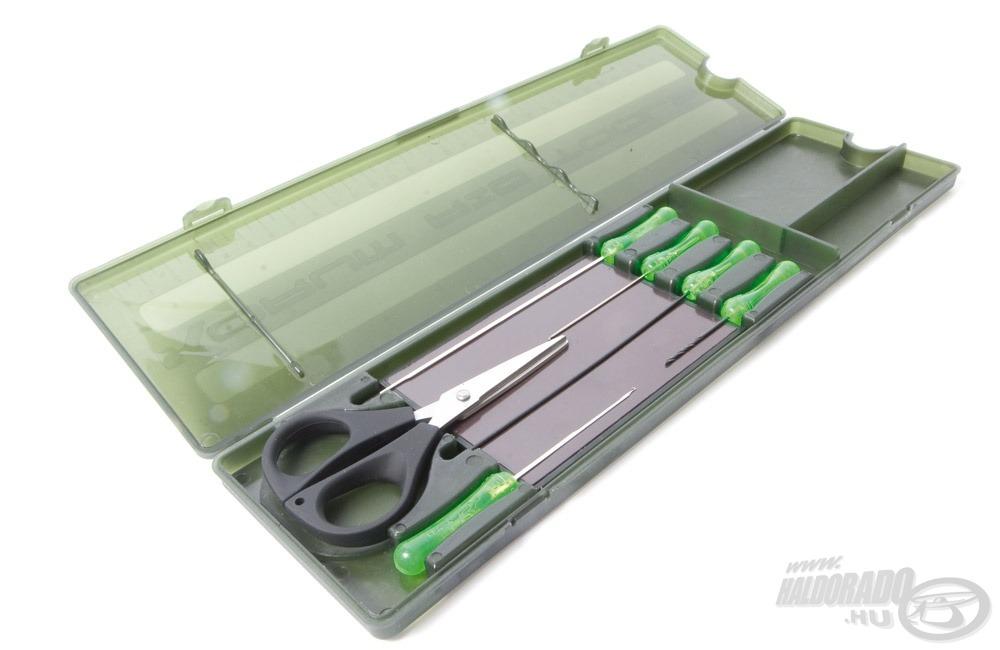 Ez a mágneses doboz tartalmazza a csalizáshoz szükséges eszközöket