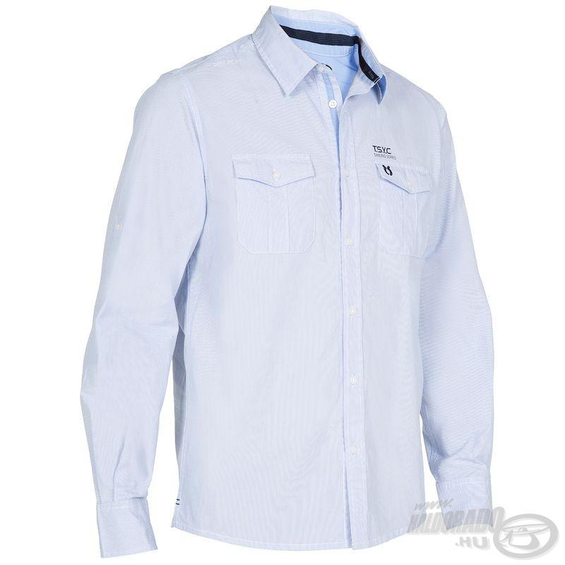 A Haldorádó Tribord UPF 40+ UV szűrős ingkollekció a saját ruházataink jelenlegi csúcsát képezi. Ennek egyik változata az elegáns világoskék színű verzió
