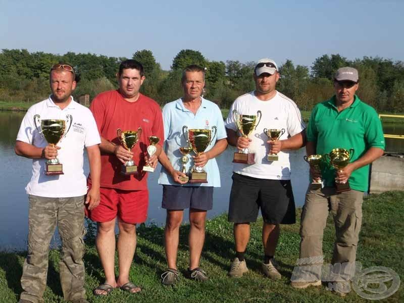 A verseny nyertesei, díjazottjai: Vörös Tibor, Lajos Róbert, Bóna László, Varga Ákos, Sági Béla