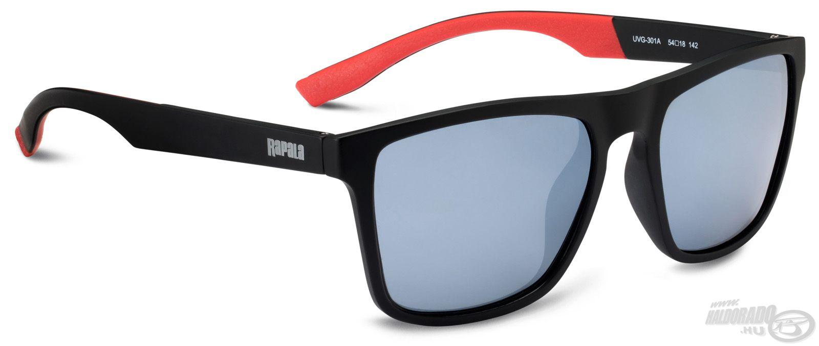 Fekete színű kerettel, a szárakon belül piros betéttel készül a Sportsman's UVG-301A napszemüveg. A lencsék színe szürke