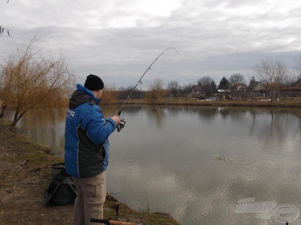 """Rendkívül izgalmas ez a partközeli horgászat, mikor az ember orra előtt, alig pár méterre van a végszerelék. """"Felrobbant"""" a víz a bevágás után"""