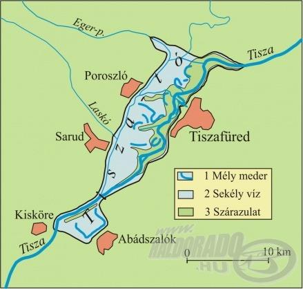 A térképen látható, hol van Poroszló, ahol szerencsét próbáltam (forrás: www.sporthorgasz.eu)