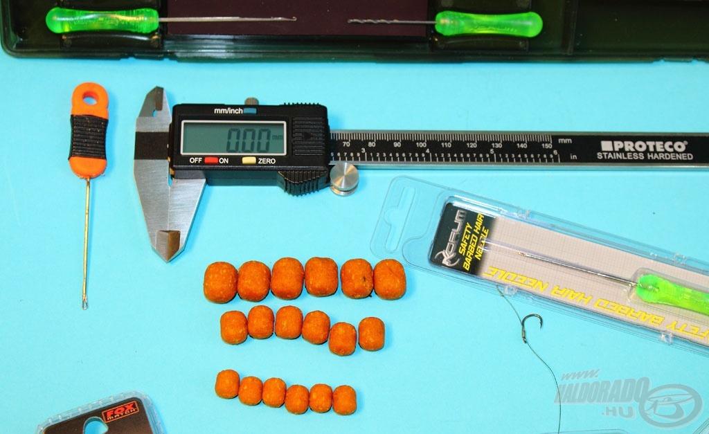 A teszthez a digitális tolómérőt és a pelletsor legkisebb méreteit használtuk