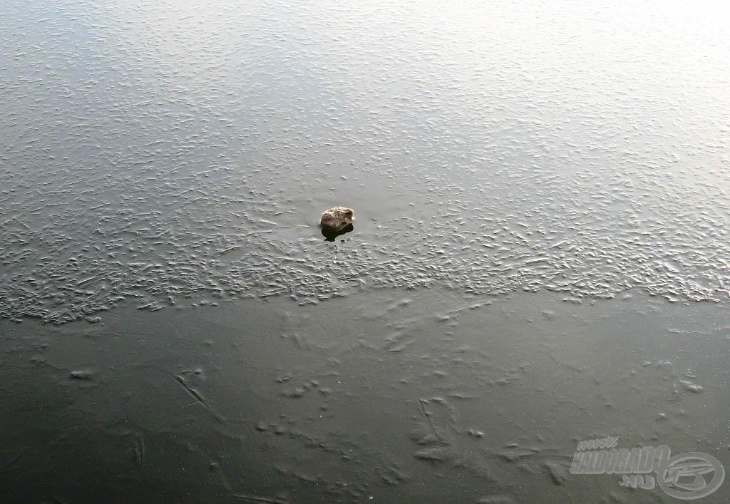 A jég elég vastagnak tűnt a kiszemelt helyünkön, a rádobott kő sem bírt el vele