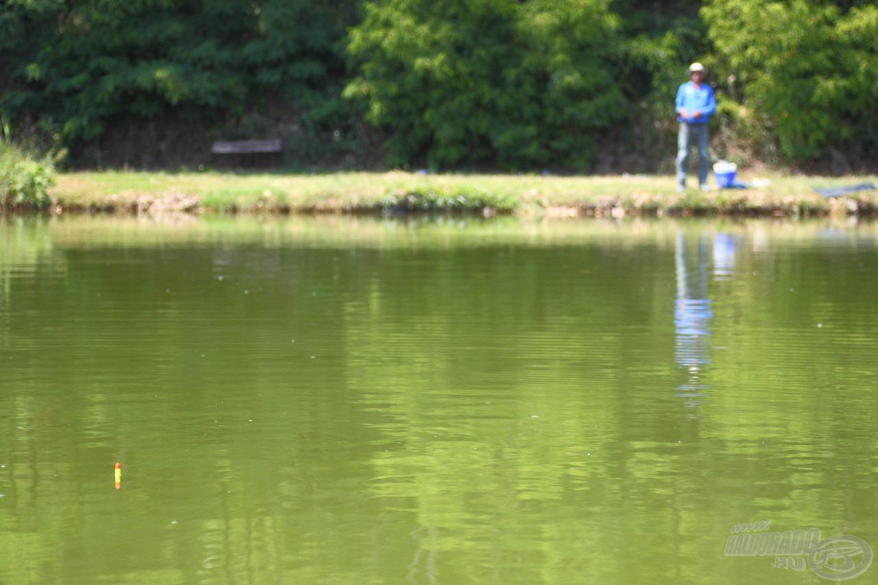 A parttól távolabb is jól látható a vastag úszó, amely akkor sem merül be teljesen, ha a kosarat telitöltjük