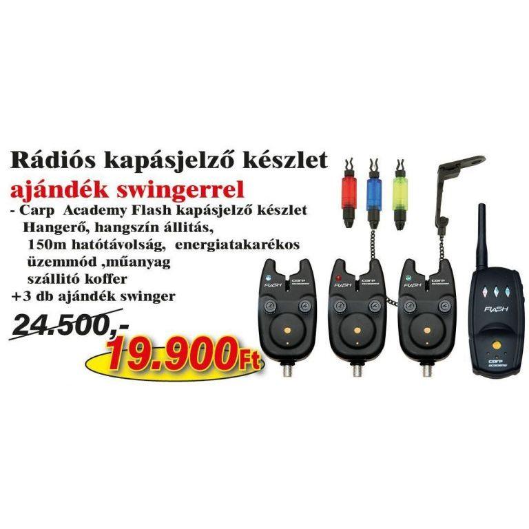 CARP ACADEMY Flash Elektromos kapásjelző készlet 3+1 darabos + Ajándék swingerekkel